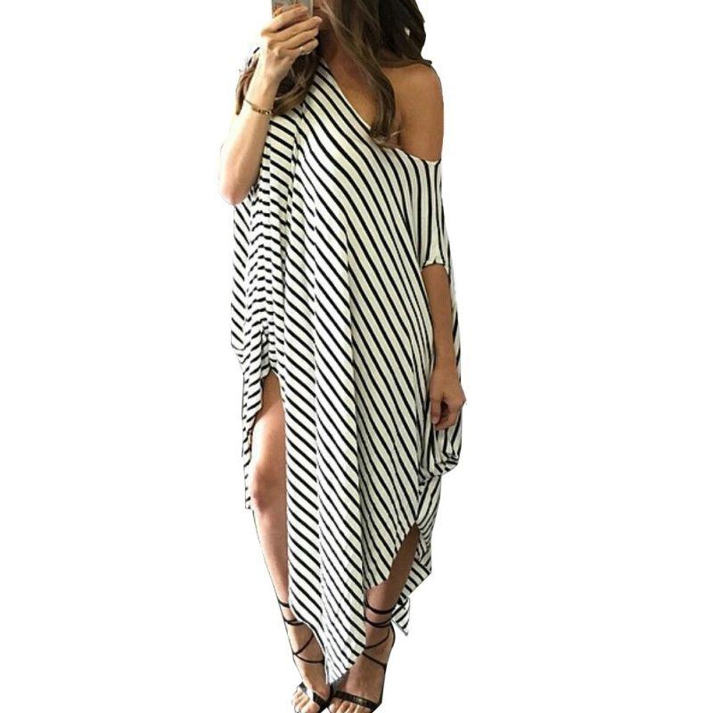 1604f6fd88 Women Loose Long Maxi Dress Striped Batwing Sleeve Off Shoulder Split  Casual Beach Dresses Wear Plus