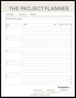 FREE Project Planner |Pig + Tiger Renovation | Plan and keep track of your  next