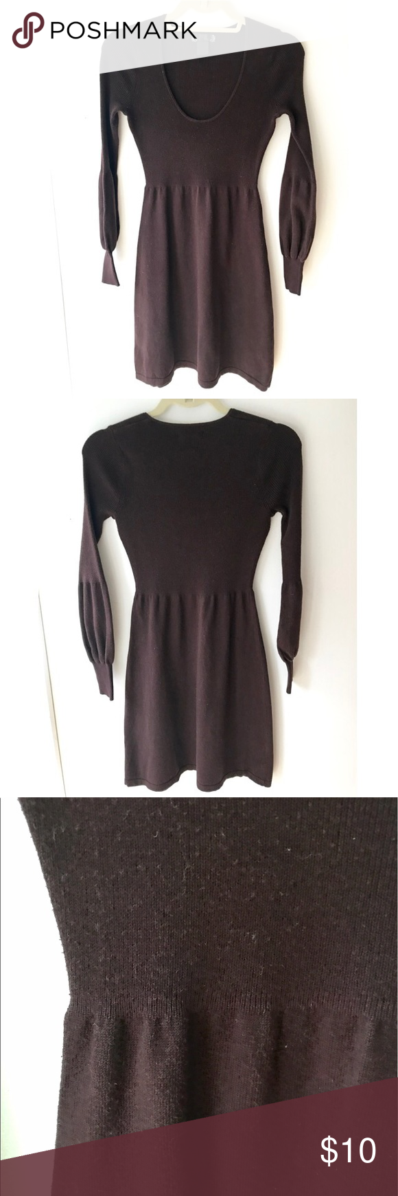 Scoop neck sweater dress in chocolate brown | Chocolate brown ...