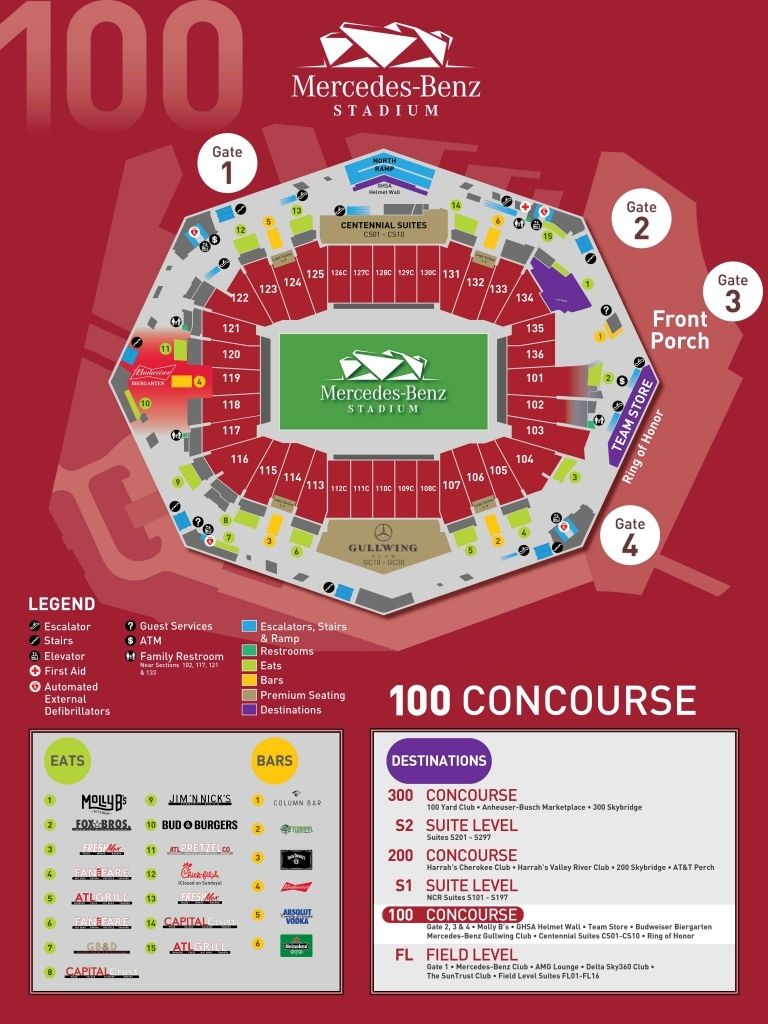 Falcons Stadium Seating Charts Mercedes Benz Benz