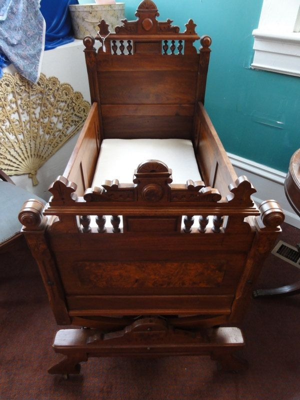 Antique Victorian Walnut Rocking Cradle Bed Crib Childs baby. $2,500.00,  via Etsy. - Antique Victorian Walnut Rocking Cradle Bed Crib Childs Baby