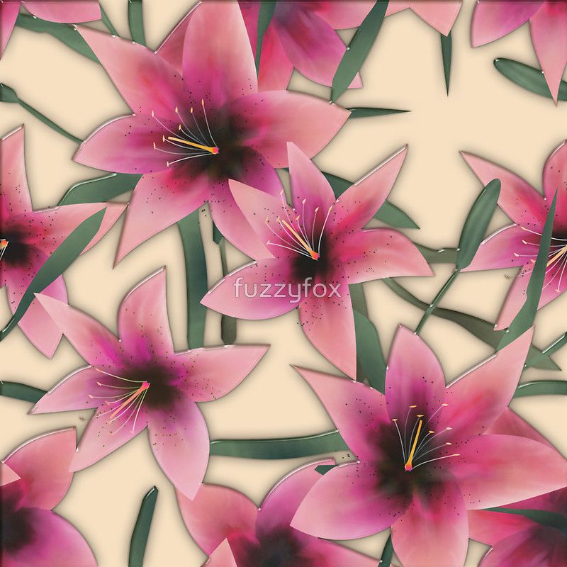 Pink lilly floral seamless pattern background glass effect