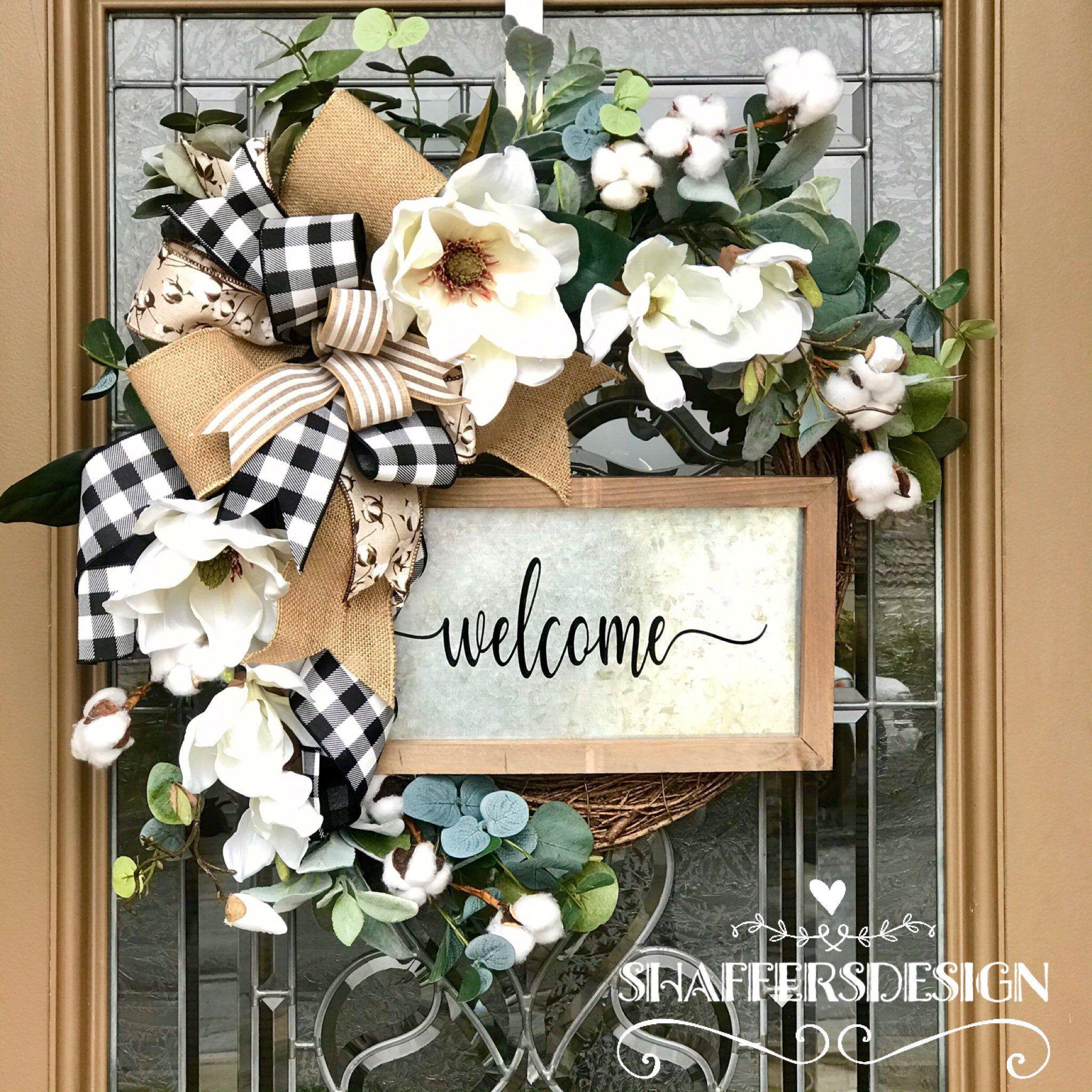 Photo of Farmhouse Everyday Wreath, Buffalo Check Wreath, Monogram Wreath, Farmhouse Magnolia Wreath