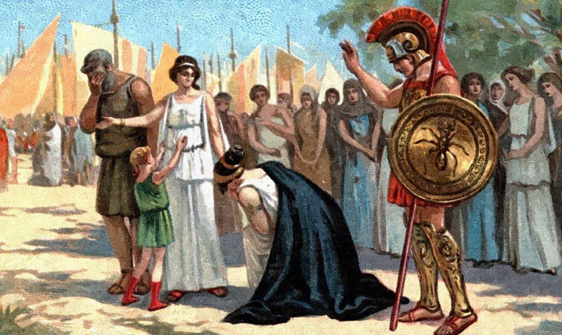From A Liebig Trade Card Tragedies Euripides Iphigenia In Aulis Tags Iphigenia Ifigeneia Greek And Roman Mythology Mythology Greek Tragedy