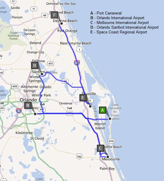 List Of Airports Surrounding Port Canaveral Orlando International