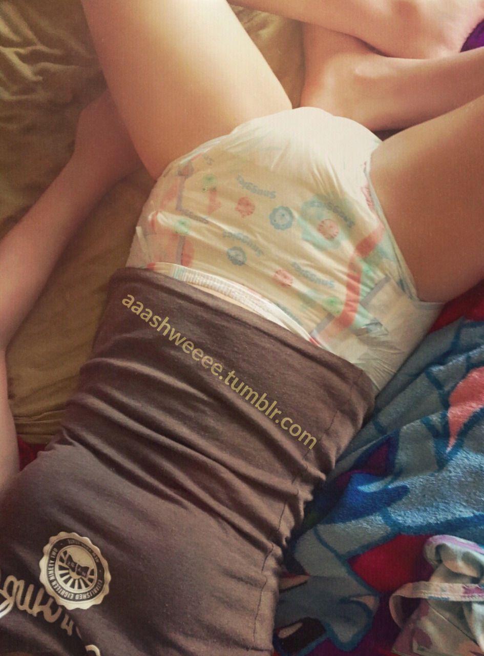 Teenage girl in a diaper