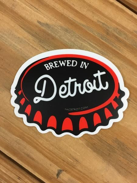 Ink detroit brewed in detroit vinyl die cut bumper sticker