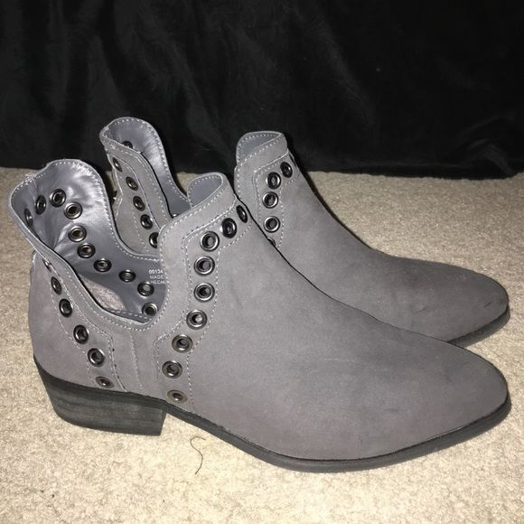 Studded Suede Grey Booties Gorgeous, unique booties. Worn once and in perfect condition. Forever 21 Shoes Ankle Boots & Booties