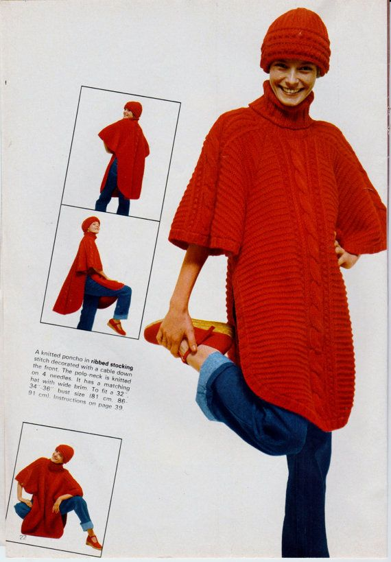 469b56ed3bfc Instant Download PDF Vintage Row by Row Easy Knitting Pattern Ladies Loose  Long Aran Style Chunky Poncho Tabard or Cape   Beanie Hat Cap