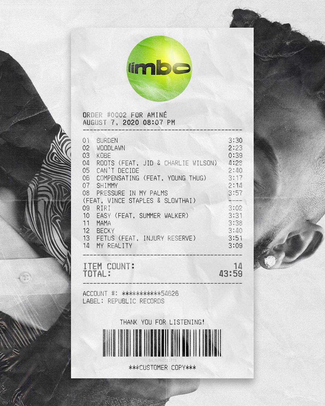 album receipts on instagram limbo