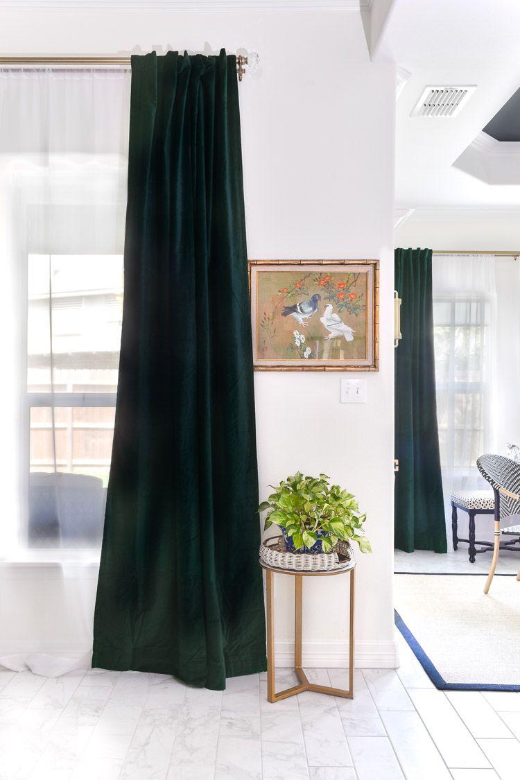 emerald green velvet curtain panels
