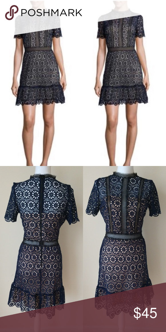 Navy Blue Lace Dress New Without Tags Never Worn Fully Lined