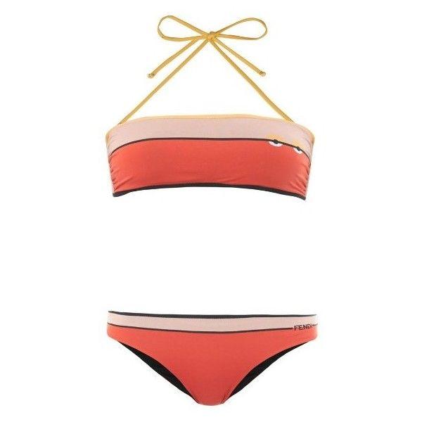 83209d9302 Fendi Bag Bugs-print bandeau bikini ( 185) ❤ liked on Polyvore featuring  swimwear