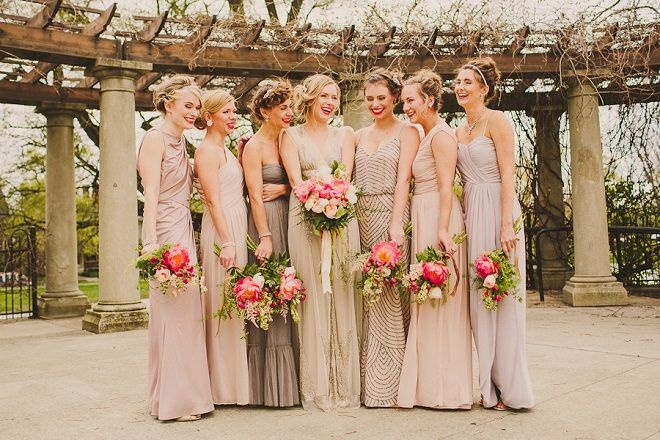 Bridesmaid Dresses In Neutrals Champagne Beige And Pale: Mismatched Bridesmaid Dresses In Neutral Shades Of