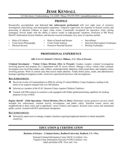 Police Officer Resume Samples No Experience