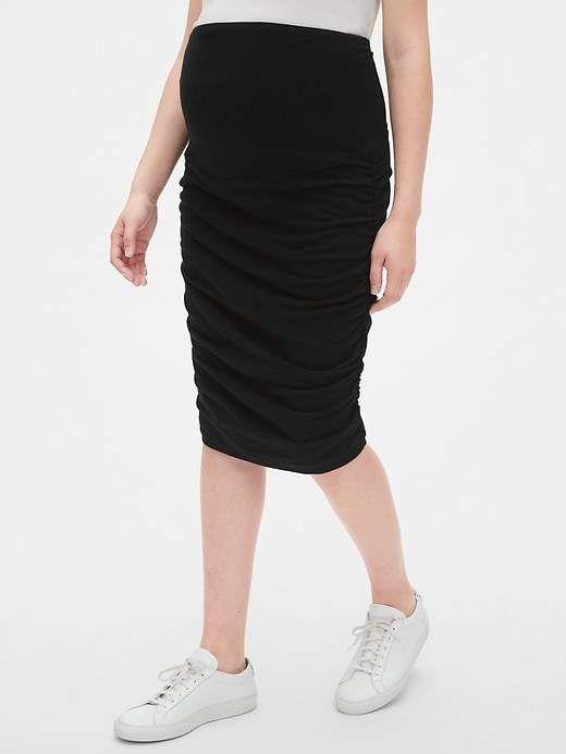 f707cd49be405b Gap Women's Maternity Full Panel Ruched Pencil Skirt True Black in ...