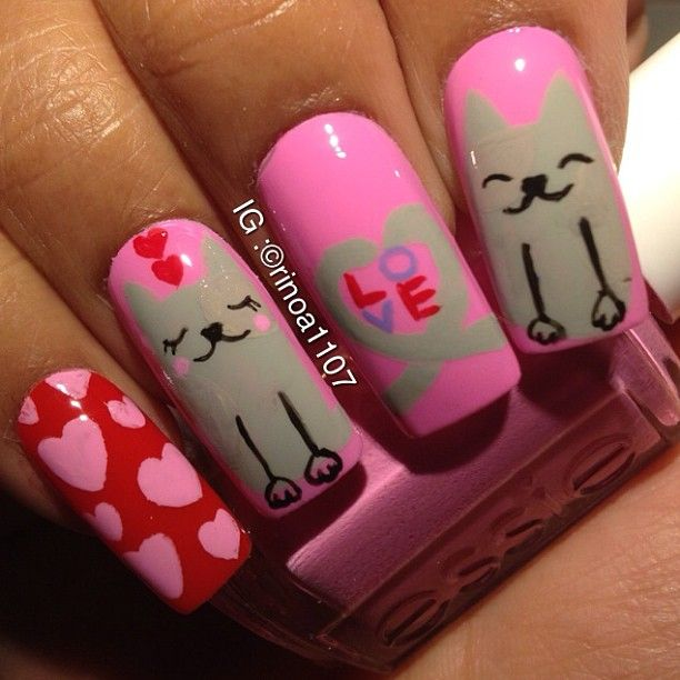 Kitty cat nail art | Nails | Pinterest | Cat nails, Nail nail and ...
