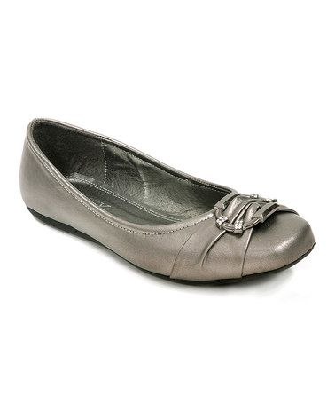 Another great find on #zulily! Pewter Buckle Pinch Ballet Flat #zulilyfinds
