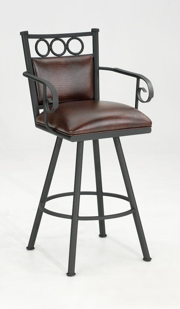Vermont Swivel Bar Stool With Arms Alligator Brown Padded Back