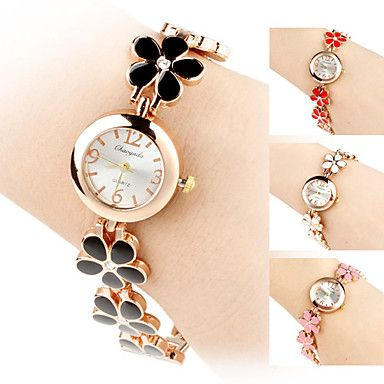 reloj de pulsera de la venda de la aleación del análogo de cuarzo estilo de la flor de las mujeres – USD $ 7.19