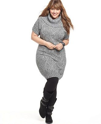 Gray Turtle Neck Sweater Dress Plus Size Uniquewomensfashion