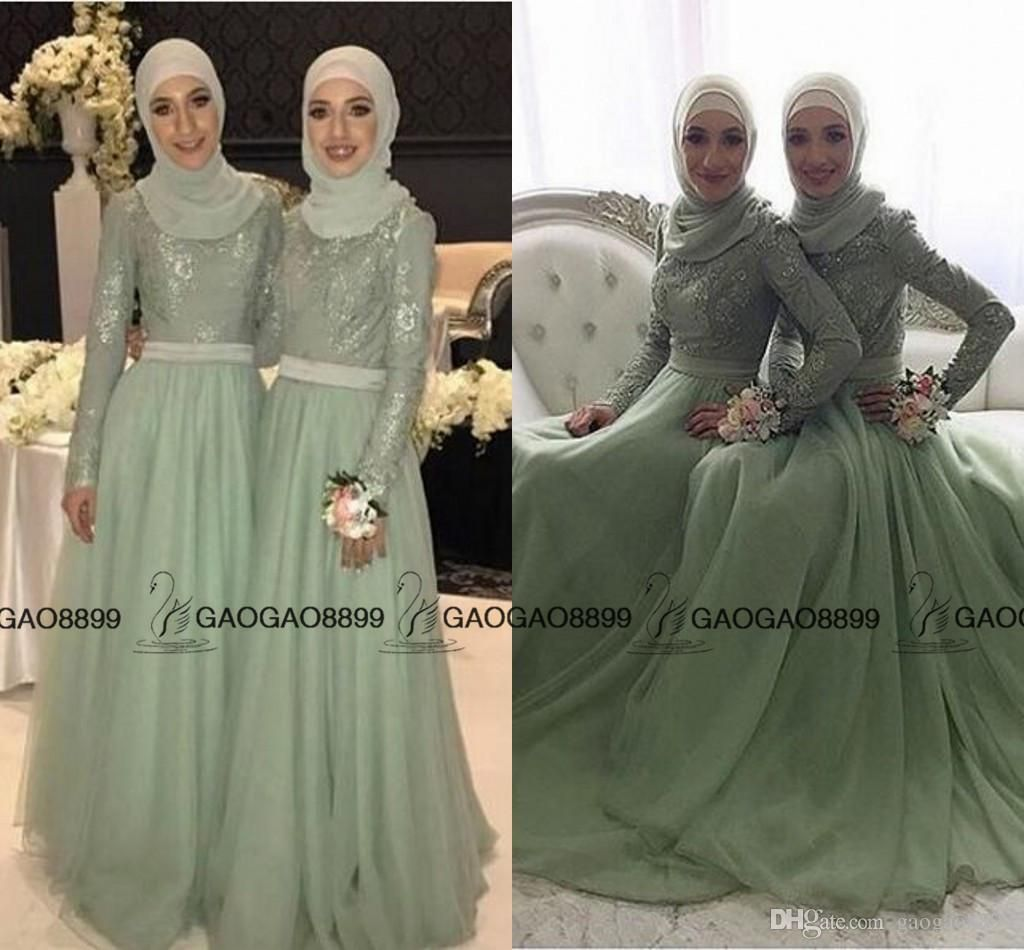 2019 Mint Sage Lace Tulle Long Sleeve Muslim Bridesmaid Dresses Mumu High Neck Elegant Plus Size Maid Of Honor Wedding Guest Party Dress From Gaogao8899 72 95 Popular Wedding Dresses Teal Bridesmaid [ 950 x 1024 Pixel ]