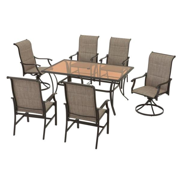 Hampton Bay Riverbrook Espresso Brown 7 Piece Outdoor Patio Steel Rectangular Glass Top Dining Set With Padded Sling Chairs Rvb 005 The Home Depot In 2020 Outdoor Dining Set Patio Dining Set Sling Chair