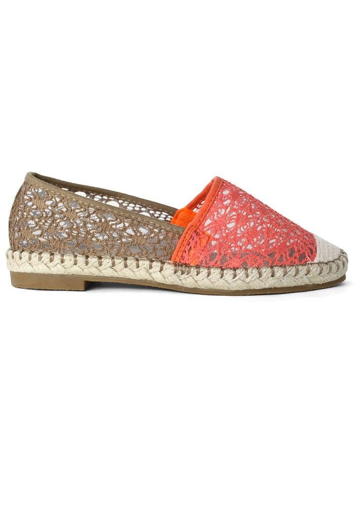 Red Color Block Crochet Flat Shoes $49.90 http://www.chicwish.com/red-color-block-crochet-flat-shoes.html #Chicwish