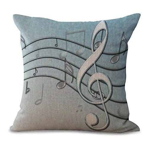 Famulei Gradient Color Staff Printing Retro Style Decorative Cotton Linen Home Decor Throw Pillow Cover Cushion Cover Pillow Case For Living Room Sofa Chair Car Etc * To view further for this item, visit the image link. Note: It's an affiliate link to Amazon