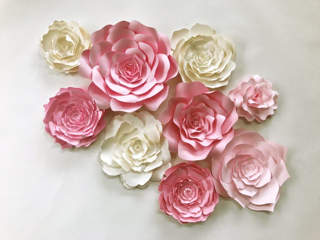 Paper flowers for weddings events home decor diy templates and pre paper flower wall art for in pink and ivory available in custom colors by paperflora mightylinksfo