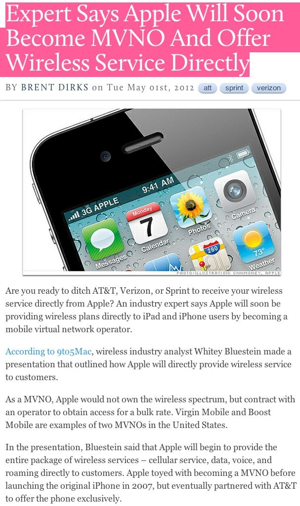 Expert Says Apple Will Soon MVNO And Offer Wireless
