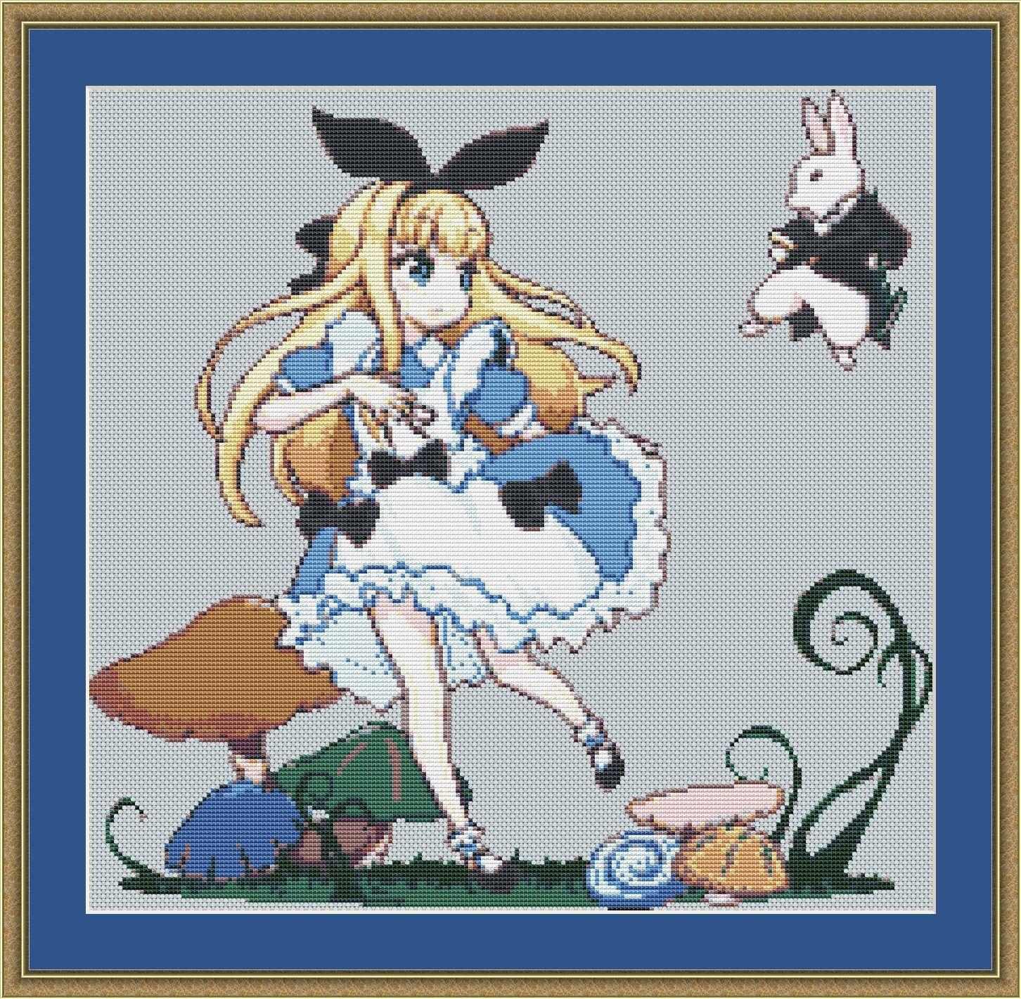 Alice in Wonderland Cross Stitch Pattern, Anime Cross