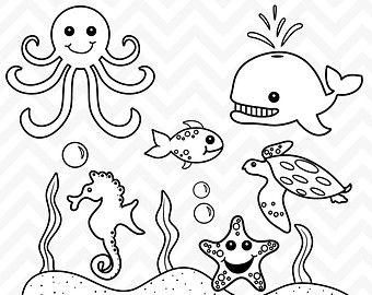 50 Black And White Clipart Clipart Sea Animals Drawings Animal Clipart Animals Black And White