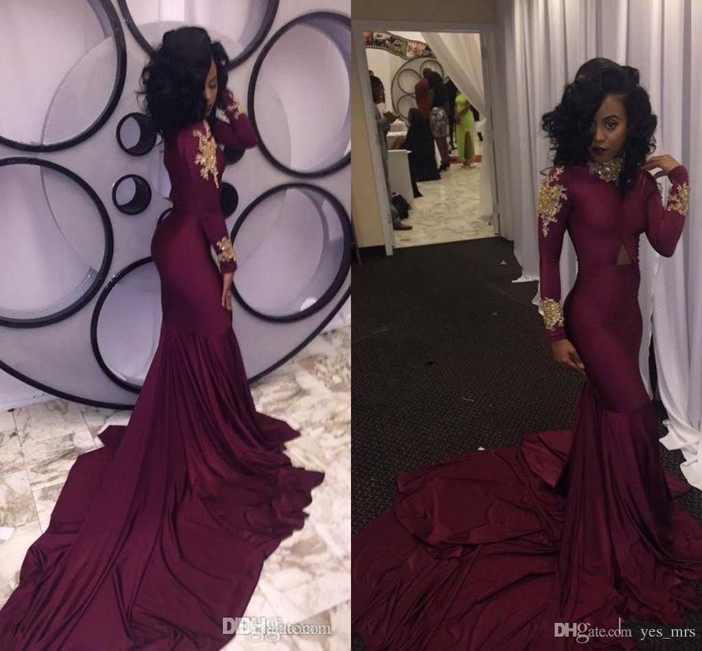 099417ad0c602 2017 Burgundy New Cheap South African 2k17 Mermaid Prom Evening ...