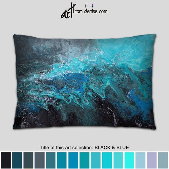 Gray black and blue lumbar pillow or cover, Decorative