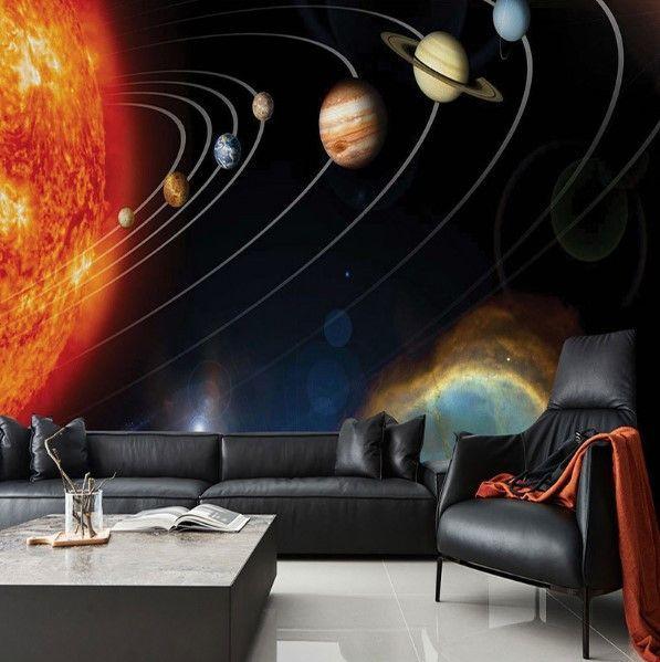 Custom Wallpaper Universe Planets Solar System 3d Wall Mural