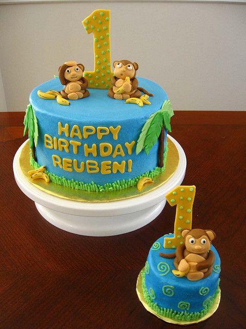 Groovy Monkey Cake With Images Monkey Birthday Cakes Monkey Cake Cake Personalised Birthday Cards Veneteletsinfo