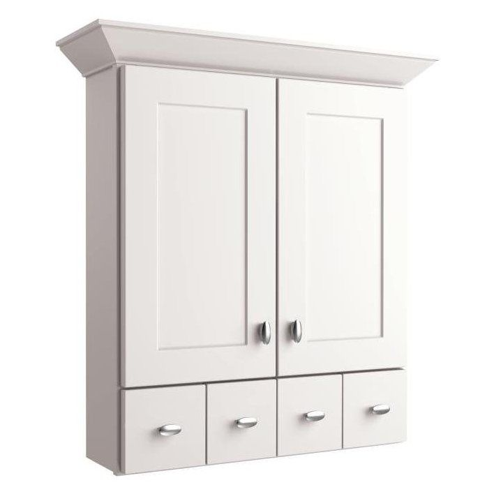 Allen roth palencia white 34 in painted wall cabinet for Kitchen cabinets lowes with bathroom wall art pinterest