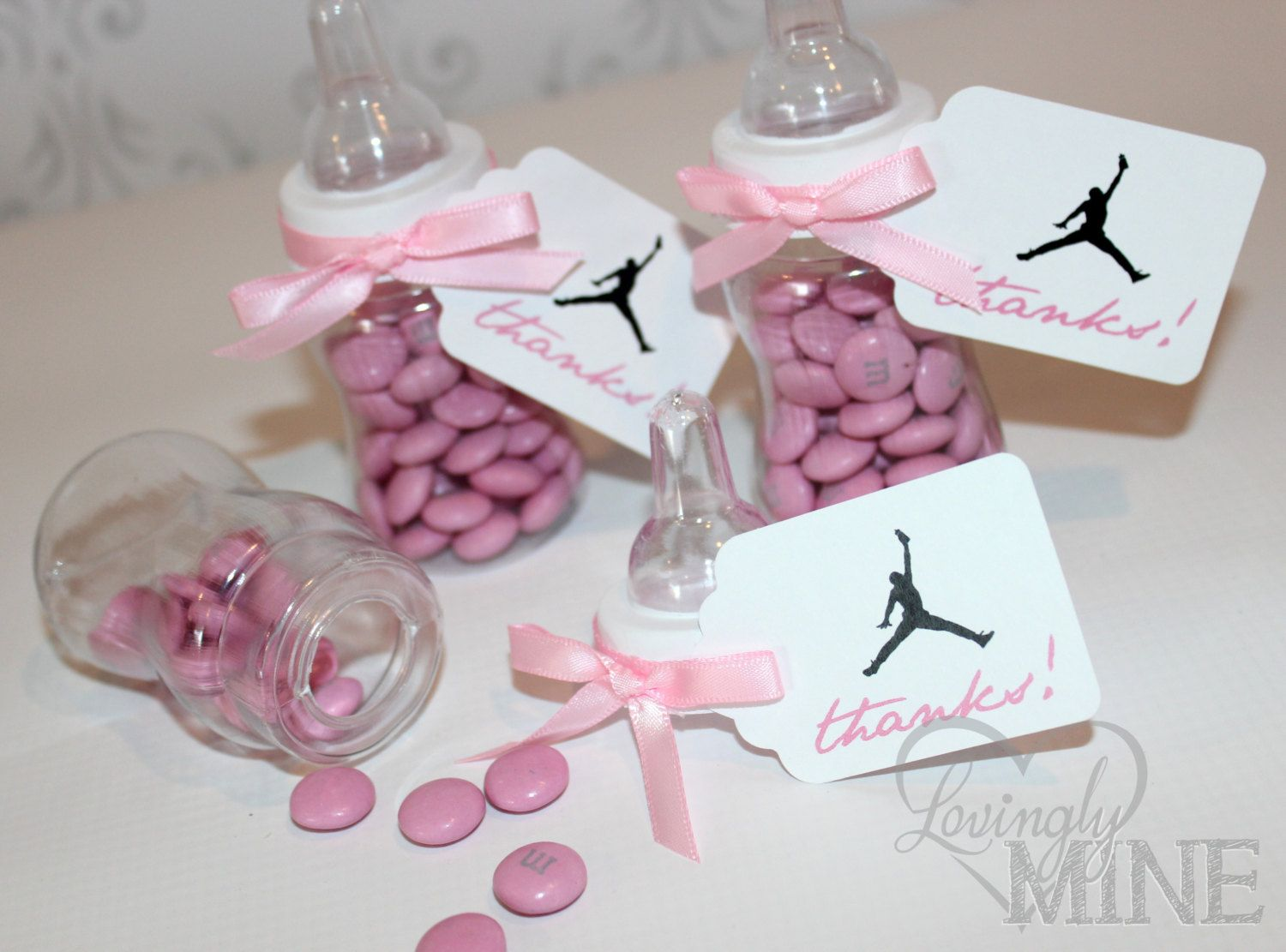 Jordan Jumpman Inspired Baby Shower Favors   Plastic Baby Bottles   12 Per  Set   Pink