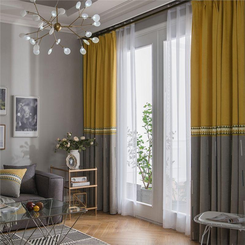 Embroidery Curtain Fashion Simple Living Room Decorative Curtain Solid Color Curtain Gostinaya V Zheltyh Tonah Zheltye Shtory Korichnevye Gostinnye