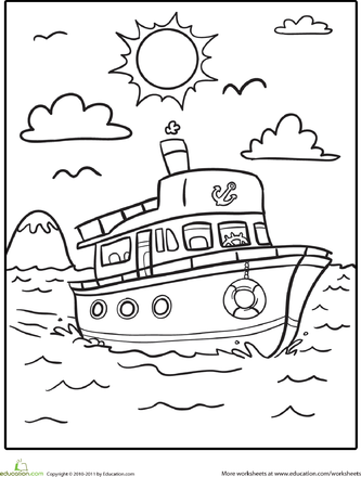 400 Best Coloring Pages Boat Worksheet Education Com Worksheets Boat Coloring Page In 2020 Kindergarten Coloring Pages Coloring Pages Coloring Book Pages