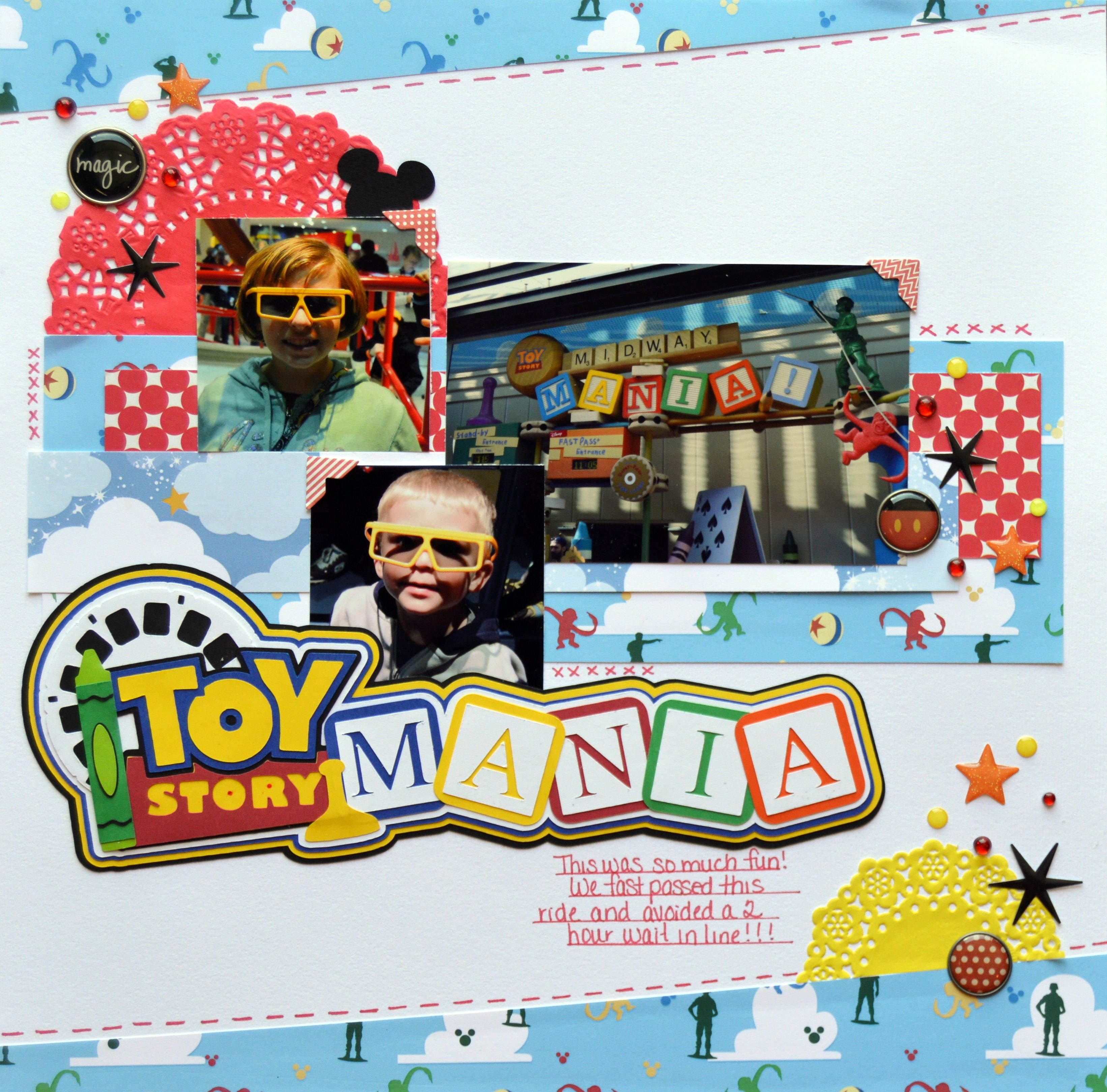 Toy Story Mania Disney Vacation Scrapbook Page Layout Idea