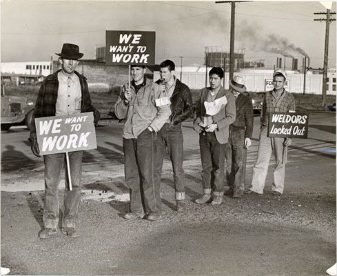Shipyard workers on strike, 1942.