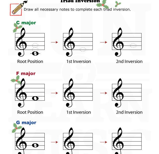 Music-Worksheets-Holidays-Triad-Inversion-002 | Music worksheets