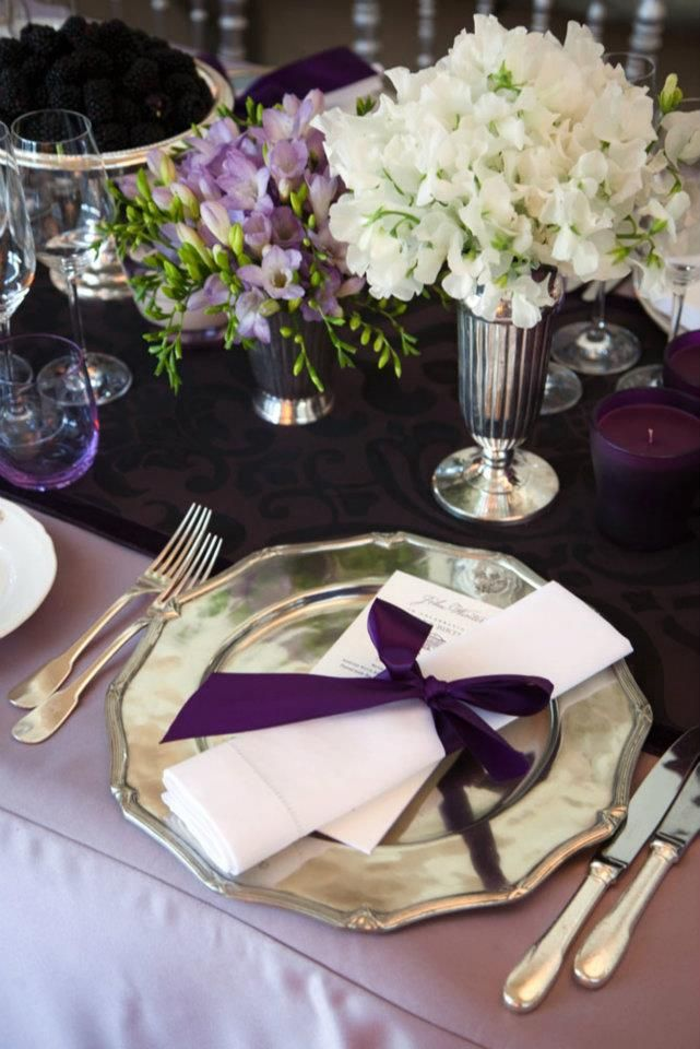 Lilac tablecloth with plum table runner/napkins, champagne plates ...