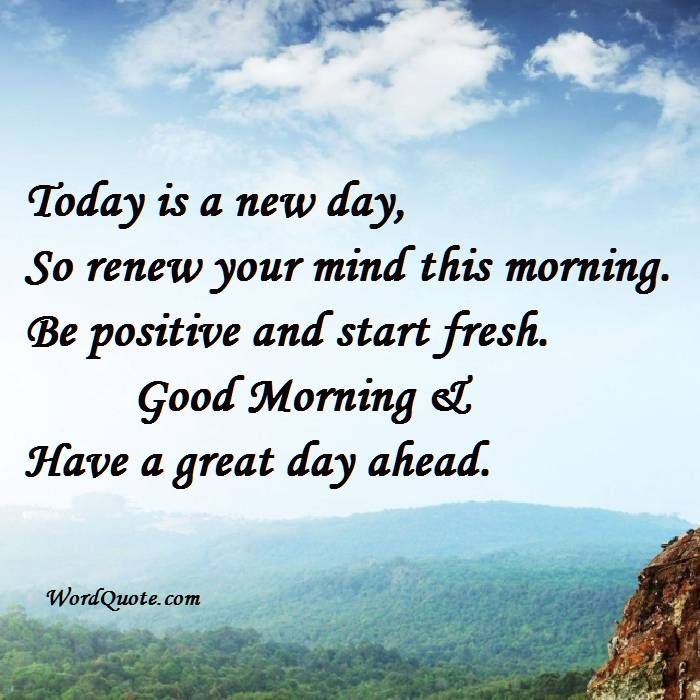 Today Is A New Day So Renew Your Mind This Morning Be Positive And Start Fresh Good Morning Have A Gre New Day Quotes Sunday Morning Quotes Morning Quotes