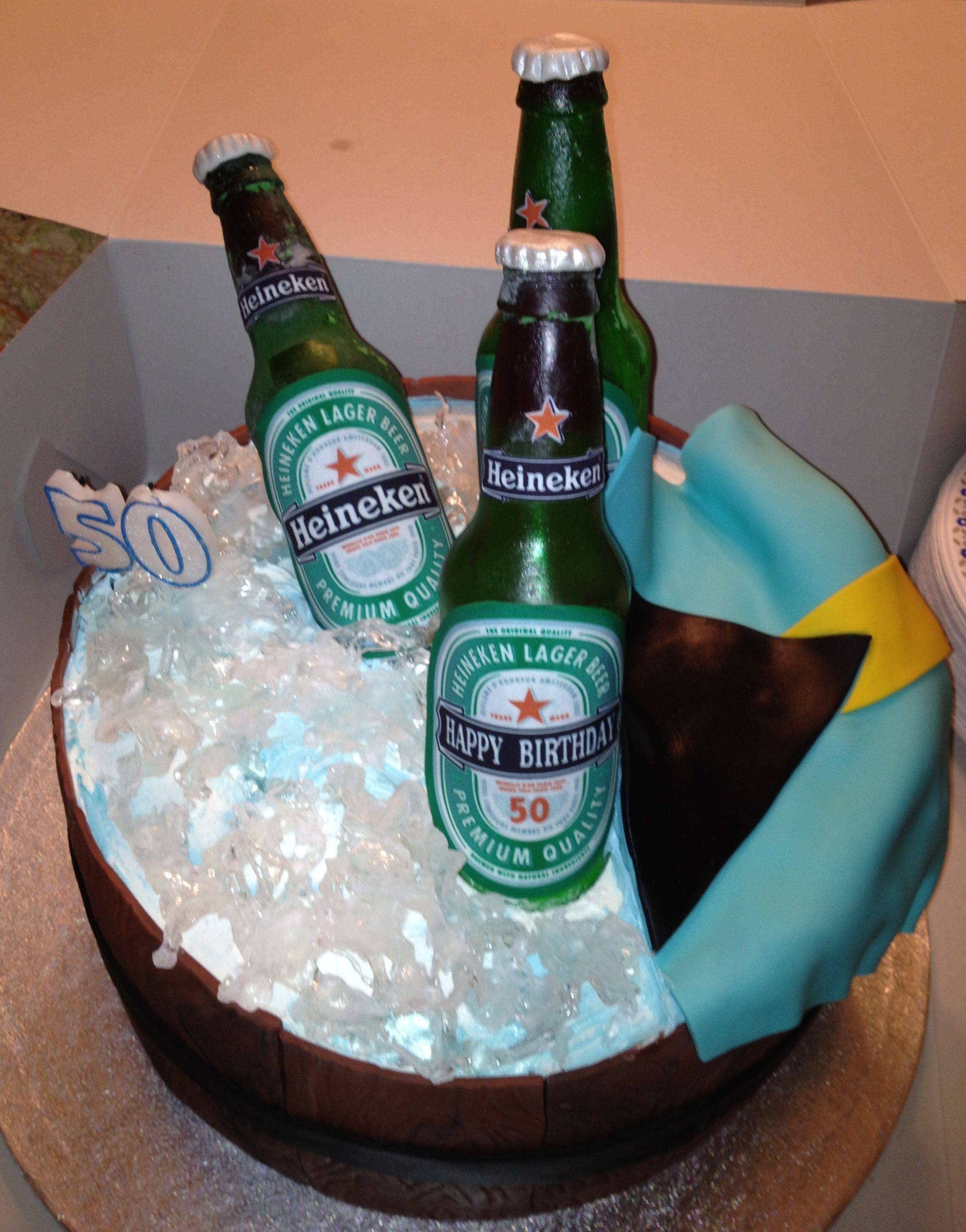 Heineken Bottles In A Barrel Of Ice With Bahamas Flag By Cathie