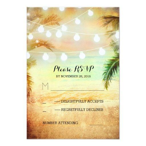 Sunset Beach Wedding Ideas: Sunset Beach Twinkle Lights Tropical Wedding RSVP