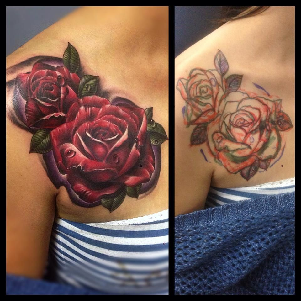 Elegant red roses cover up flower tattoo design ideas