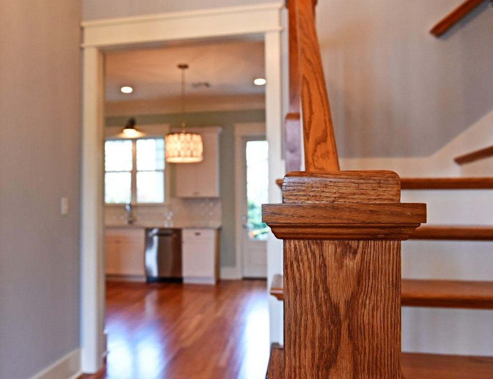 Oak staircase with box newel